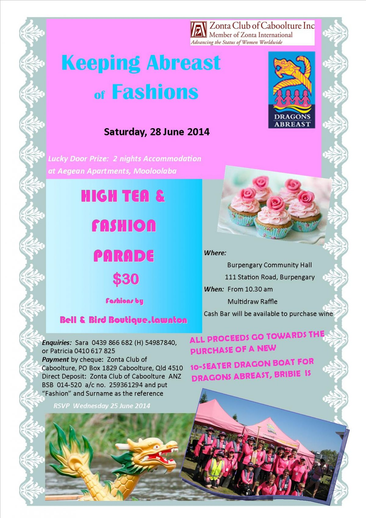 High Tea for raising funds to buy a boat for Dragons Abreast, Bribie Island